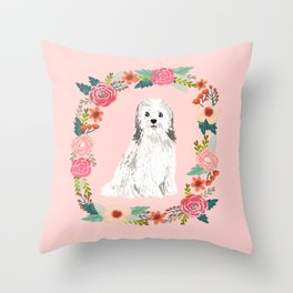 havanese floral wreath spring dog breed pet portrait gifts Throw Pillow