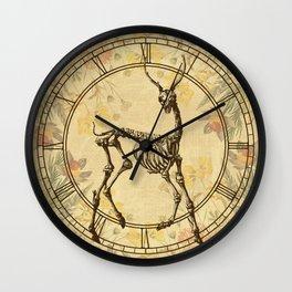 Prancing Deer Skeleton Floral Wall Clock