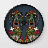 great dane Wall Clocks featuring Great Dane love midnight by Sharon Turner