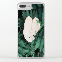 Nature Walk 001 - White Leaf Clear iPhone Case