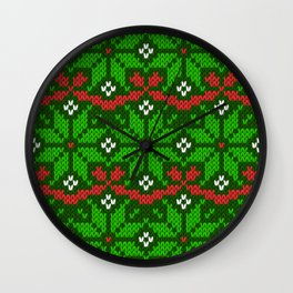 Festive knitted snowflake motif pattern in green & red Wall Clock