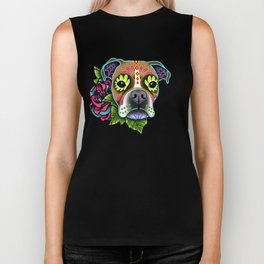 Boxer in White Fawn - Day of the Dead Sugar Skull Dog Biker Tank