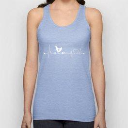 Chicken-tshirt,-i-love-Chicken-heart-beat Unisex Tank Top