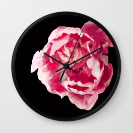 Pink Tulip Flower On A Black Background #decor #society6 #homedecor Wall Clock