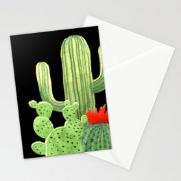 Perfect Cactus Bunch on Black Stationery Cards