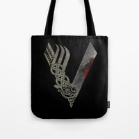 vikings Tote Bags featuring Vikings by Arts and Herbs