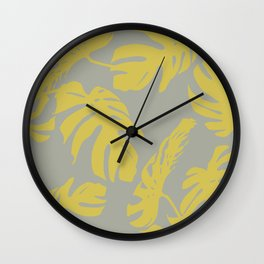 Simply Mod Yellow Palm Leaves on Retro Gray Wall Clock