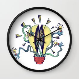 Handsy Lightbulb by Maisie Cross Wall Clock