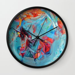 Running inside my dreams, 100-100cm, 2020, oil on canvas Wall Clock