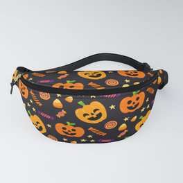 Happy halloween pumpkin, candies and lollipops pattern Fanny Pack
