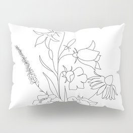 Small Wildflowers Minimalist Line Art Pillow Sham