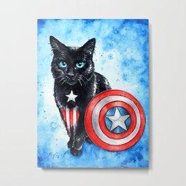 Captain Amerikitten Metal Print