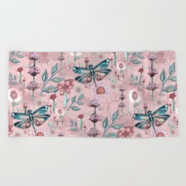Rose Gold Dragonfly Garden | Pastel Beach Towel