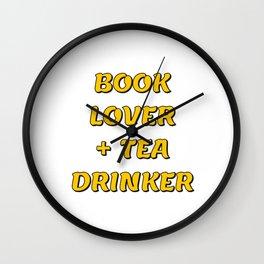 BOOK LOVER + TEA DRINKER (yellow) Wall Clock