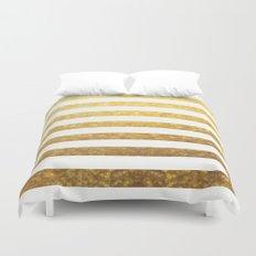 White and Gold Stripes  Duvet Cover