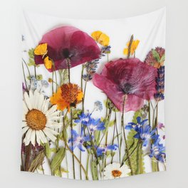 Pressed flowers collage Wall Tapestry