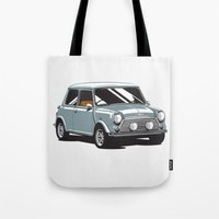 mini cooper Tote Bags featuring Mini Cooper Car - Gray by C Barrett