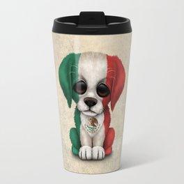 Cute Puppy Dog with flag of Mexico Travel Mug