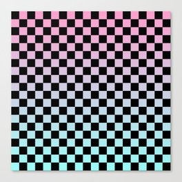 Pink and Blue Gradient Checkers Canvas Print