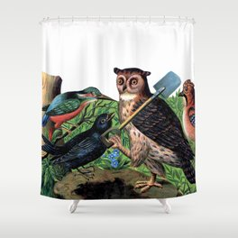 Vintage Owl with Shovel Shower Curtain