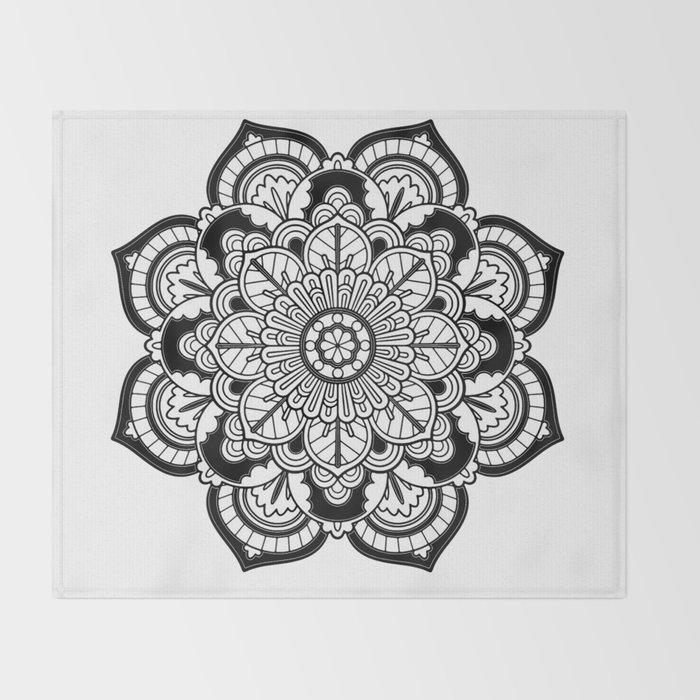 Black and White Flower Throw Blanket