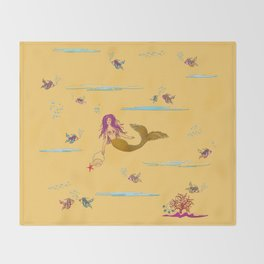 Fashionable mermaid - yellow-orange Throw Blanket