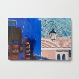 PH2 -Small Antique Bazaar Shop in the Blue City Chefchaouen, Morocco Metal Print