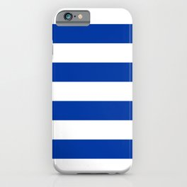 Dark Princess Blue and White Wide Horizontal Cabana Tent Stripe iPhone Case