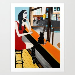 Girl With Coffee And Cat Art Print