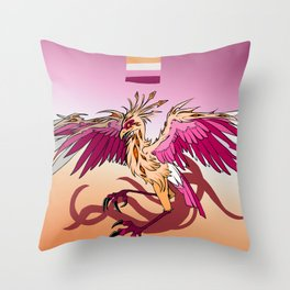 Lesbian Pride Bird / Secretarybird Throw Pillow