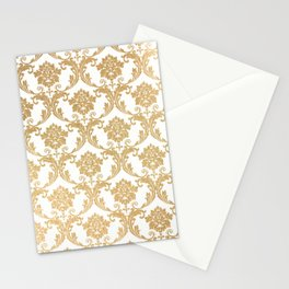 Gold swirls damask #4 Stationery Cards
