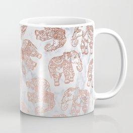 Boho rose gold floral paisley mandala elephants illustration white marble pattern Coffee Mug