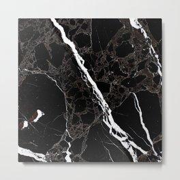 Abstract black white gray modern marble Metal Print