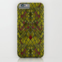 Snake skin abstract reptile leather modern green khaki iPhone Case