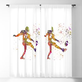 American football player in watercolor 33 Blackout Curtain