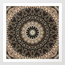 Dark Brown Boho Mandala Art Print