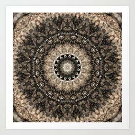 Dark Brown Boho Mandala Art Print