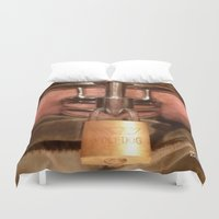 penis Duvet Covers featuring funny painting Chastity cock dick key penis submission cage BDSM fetish master Dom dominatrix fuck by Velveteen Rodent