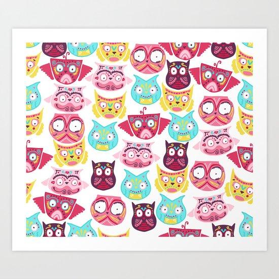 Ornate Owls Art Print