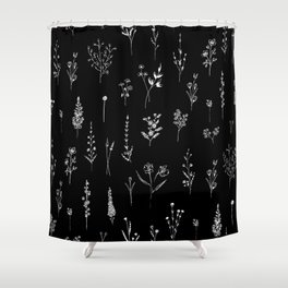 Black wildflowers Shower Curtain