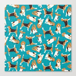 beagle scatter blue Canvas Print