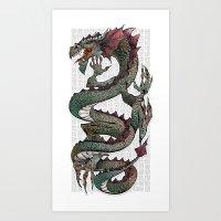 dragon Art Prints featuring dragon by Erdogan Ulker
