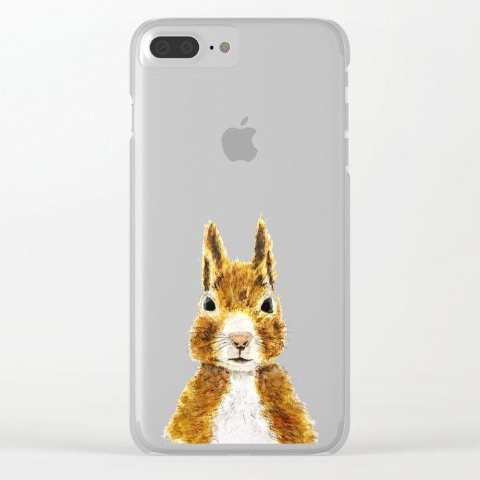 cute little squirrel watercolor Clear iPhone Case