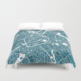 Brussels City Map I Duvet Cover