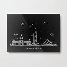 Buenos Aires Minimal Nightscape / Skyline Drawing Metal Print