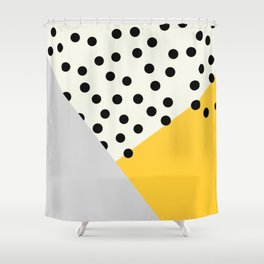 Mod Dots - yellow and Gray Shower Curtain