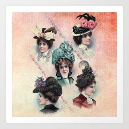 Victorian Ladies Hats Fashion Show Art Print