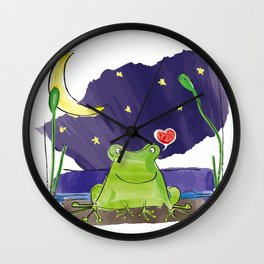 The frog and the moon Wall Clock