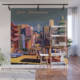 Vintage Commercial Travel Poster Colorful Vintage Art San Francisco  Wall Mural