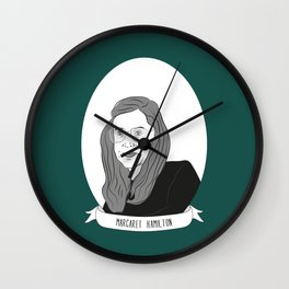 Margaret Hamilton Illustrated Portrait Wall Clock